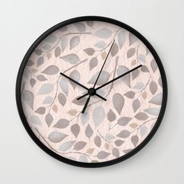 Grey Leaves On Pastel Pink Wall Clock