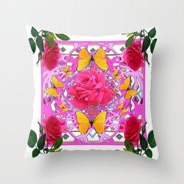 PINK ROSE FLOWERS  &  GOLDEN BUTTERFLIES GARDEN ART Throw Pillow