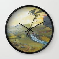 skyrim Wall Clocks featuring Skyrim by mixedlies