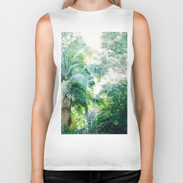 Lost in the jungle bright green tropical palm tree forest photography Biker Tank