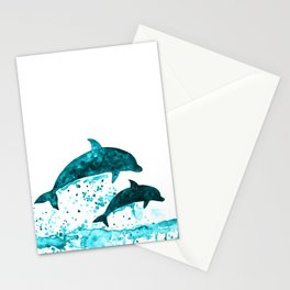 Dolphins, navy blue Stationery Cards