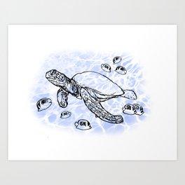 Sea Turtle with raccoon butterflyfish Art Print