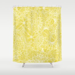 Modern trendy white floral lace hand drawn pattern on meadowlark yellow Shower Curtain