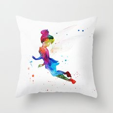 Tinker Bell, Watercolor, girl Throw Pillow
