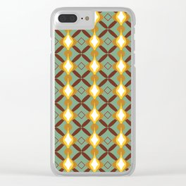 60's retro golden pattern Clear iPhone Case