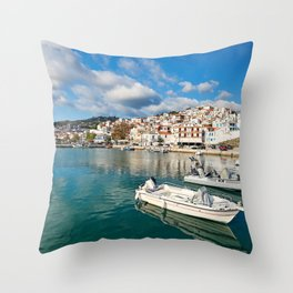 The port in the Chora of Skopelos island, Greece Throw Pillow