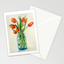 Watercolor Tulips in Teal Ball Jar Stationery Cards