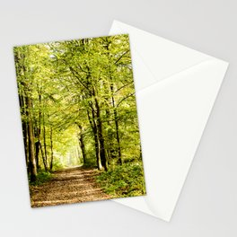 A pathway covered by leaves in a magical forest Stationery Cards