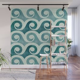 Vintage Waves - Tropical Teal Wall Mural