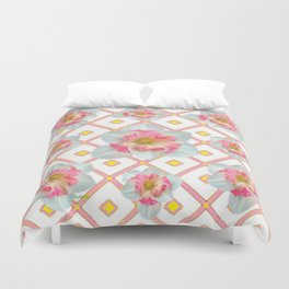 Pink-Yellow Spring Garden Daffodils Duvet Cover