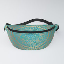 Burnt Gold Teal Mandala Fanny Pack