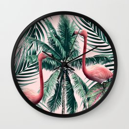 Flamingo tropics Wall Clock