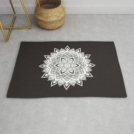 Pretty Black and White Mandala Rug