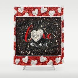 """""""Love You More"""" Hawaii Beach with Coral Heart Photo Shower Curtain"""