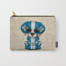Cute Puppy Dog with flag of Quebec Carry-All Pouch