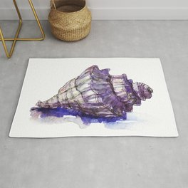 Watercolor Seashell Painting on White 1 Minimalist Coast - Sea - Beach - Shore Rug