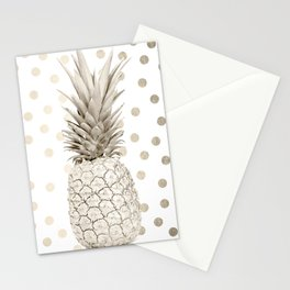 Gold Pineapple Polka Dots 1 Stationery Cards