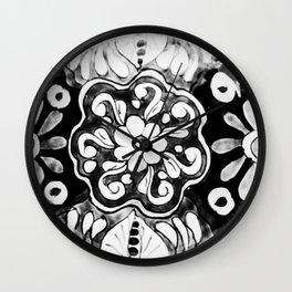 Black and White Talavera Eleven Wall Clock