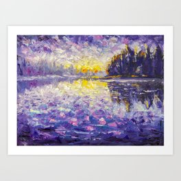 Impressionism palette knife oil painting on canvas Morning on the river. Sunrise on the water. Art Print