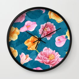 Colorful watercolor flowers No4 Wall Clock