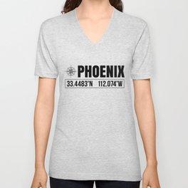 Phoenix City GPS Coordinates Souvenir USA Travel Gift Idea Unisex V-Neck