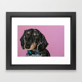 Sweet Double Dapple Dachshund Portrait, Weiner Dog Painting, Dachshund Painting Framed Art Print