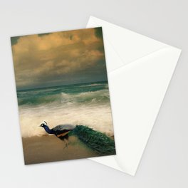 Peafowl On The Beach Stationery Cards