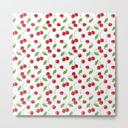 Red cherries and white background Metal Print