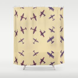 Toys#plane#1942#yellow Shower Curtain