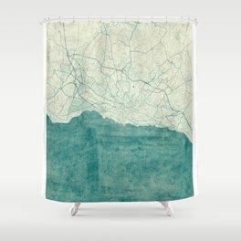 Lausanne Map Blue Vintage Shower Curtain