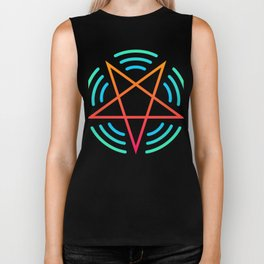 Pentagram Audio Wave Forms | EDM Rave Design Biker Tank