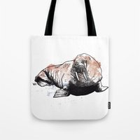 walrus Tote Bags featuring Walrus by ZOO (William Redgrove)