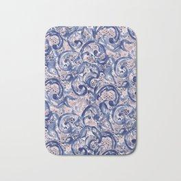 Vinage Lace Watercolor Blue Blush Bath Mat