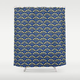 Art Deco Fan in blue and gold Shower Curtain