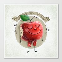 apple Canvas Prints featuring Apple by Lime