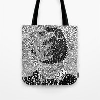typo Tote Bags featuring Warhol Typo by Novel Reveries
