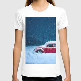Winter Storm Red Car T-shirt