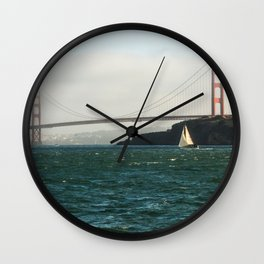 Sailing Under the Golden Gate Bridge Photography Print Wall Clock