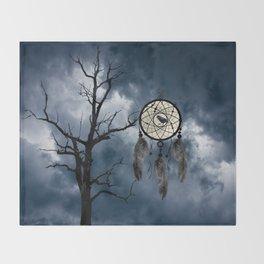 Black Bird Crow Tree Dream Catcher Night Moon A082 Throw Blanket