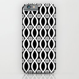 Floral Twist Black And White iPhone Case