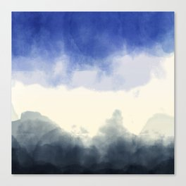 Abstract watercolor navy blue gray ivory ombre Canvas Print
