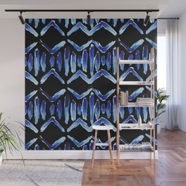 "Black and Blue Watercolor Pattern ""Zig Zag Stripes"" Wall Mural"