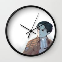 levi Wall Clocks featuring Levi by sushishishi