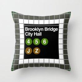 subway brooklyn bridge sign Throw Pillow