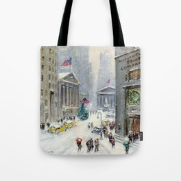 Broad Street to Wall Street, New York City landscape painting by Guy Carleton Wiggins Tote Bag