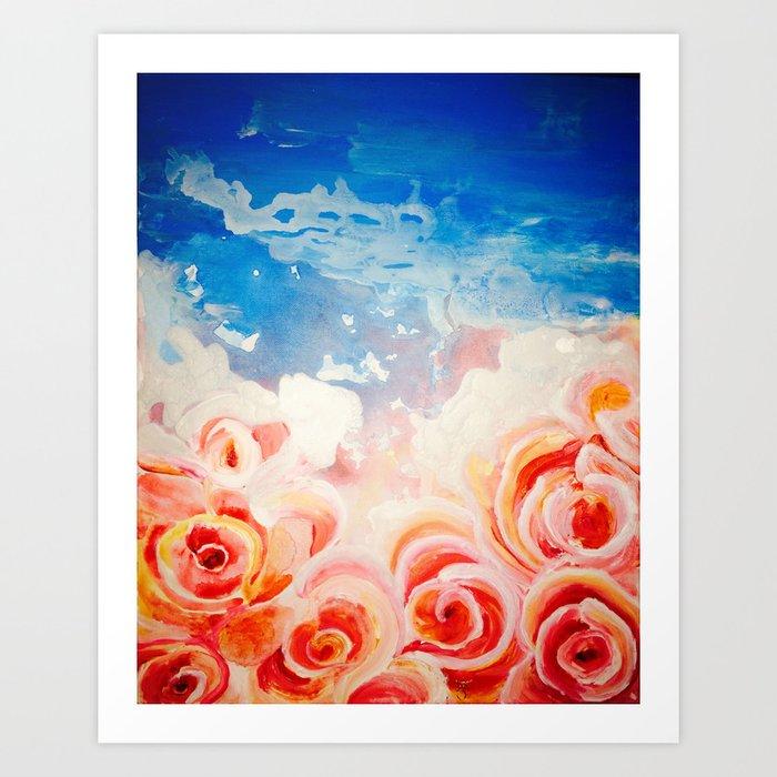 Peachy Roses Art Print