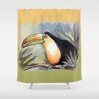 toucan Shower Curtains featuring Toucan by Julie Lemons