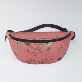 Coral Rose and Bluebells and Bluebirds Floral Pattern Flowers in Blue and Bark Brown Fanny Pack