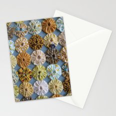 Quilted Yoyos in Yellow pattern by robayre Stationery Cards