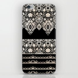 Seamless lace lacy washi tapes ribbon pattern on black background texture iPhone Skin